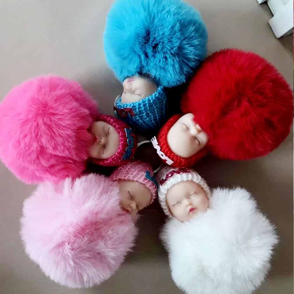 OCDAY Милая Спящая Детская кукла помпон кролик мех мяч автомобильный брелок баб кукла игрушки для детей подарок для детей