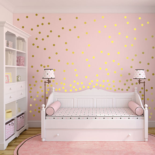 Gold Polka Dots Wall Sticker Baby Nursery Stickers Children Removable Wall Decals Home Decoration Art  Vinyl Wall Art P5-B gold metal duvar saati