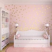 W złote grochy naklejki ścienne naklejki do pokoju dziecięcego dzieci naklejki ścienne wymienny Home Decoration Art Vinyl Wall Art P5 B