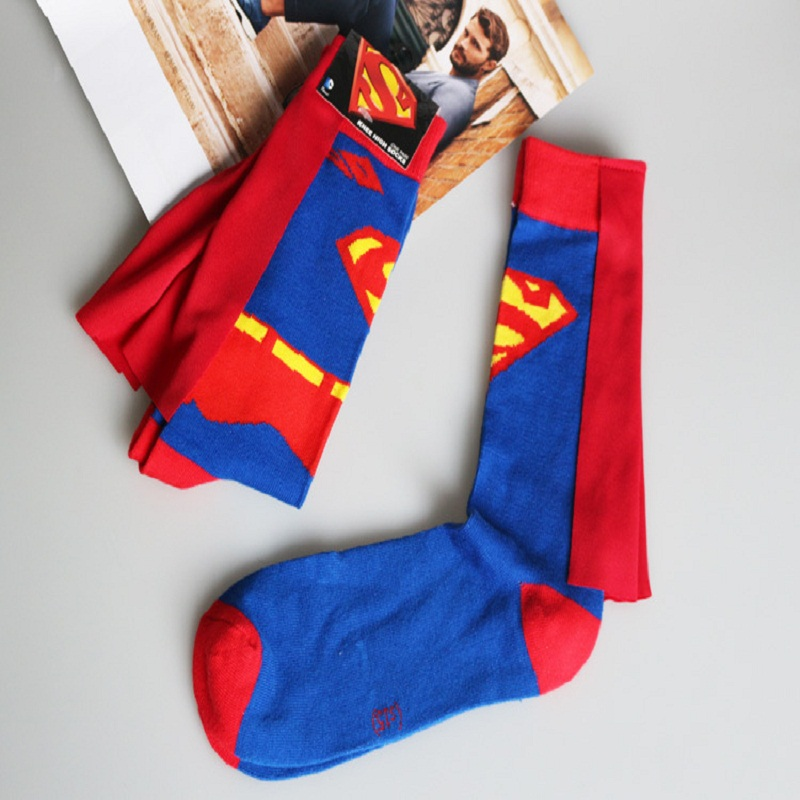 2018 Sale Top Fashion Standard Cotton Casual Men Socks Calcetines Hombre European American Fashion Socks Superman Long