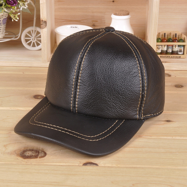Leather baseball cap autumn winter men and women outdoor sports cap Cowhide 100% genuine leather hat ear warm