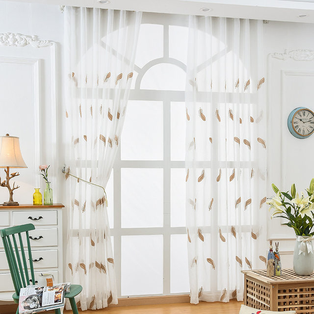 Superieur NORNE Embroidered Semi White Voiles Peacock Feathers Tulle Sheer Curtains  For Living Room,Kitchen Drape Treatment For Bedroom