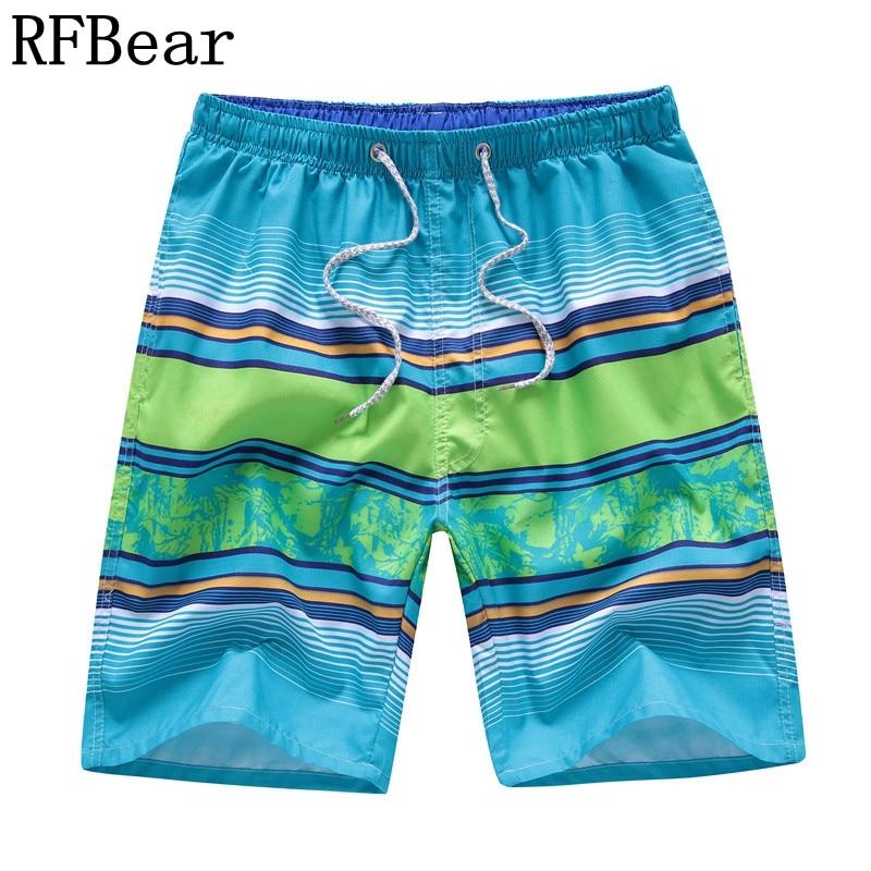 RFBear Brand Board Shorts Men 2018 Summer New Fashion Stripe Shorts Quick-drying High Quality Print Male Beach Shorts