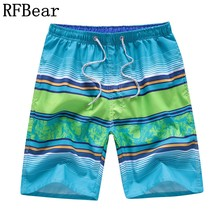 RFBear Brand Board Shorts Men 2018 Summer New Fashion Stripe Shorts Quick-drying High Quality Print Male Beach Shorts(China)
