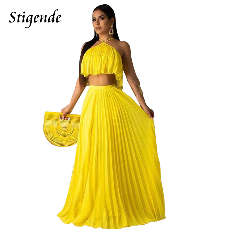 Stigende Summer Chiffon Two Piece Long Dress Women Casual 2 Piece Set Crop Top And Skirt Set Sexy Sleeveless Beach Party Outfit
