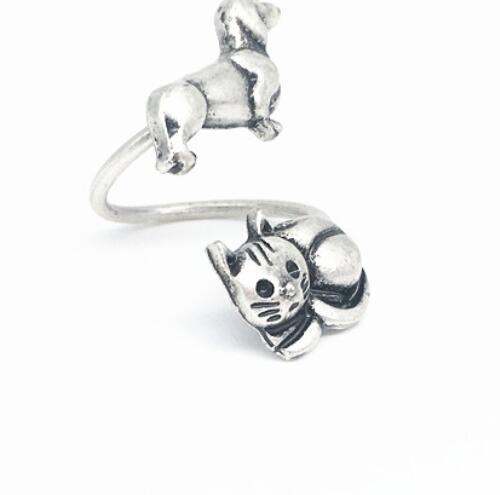 Древних старинное серебро колбаса собака кошка кольцо латунь металлические Knuckles такса животных кольцо ювелирные изделия для женщин щенок ...