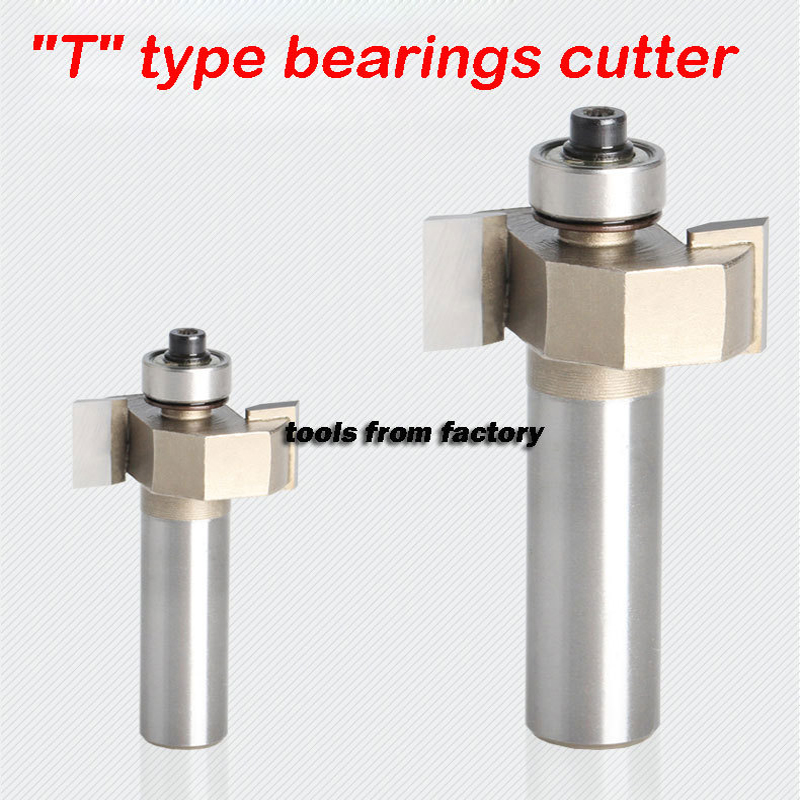 1pc  1/4*1/4 T type woodwork carving tools bearings wood milling cutter wooden router bits 1 4