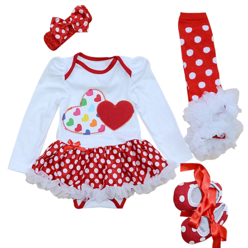 4PCs per Set Baby Girl Red Double Loves Tutu Dress Infant 1st Birthday Party Outfit Leg Warmers Shoes Headband