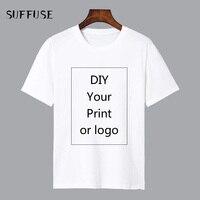 Индивидуальные футболки с принтом для мужчин DIY ваши как фото или логотип белые футболки мужские Размеры Process Модальные теплопередачи проце...