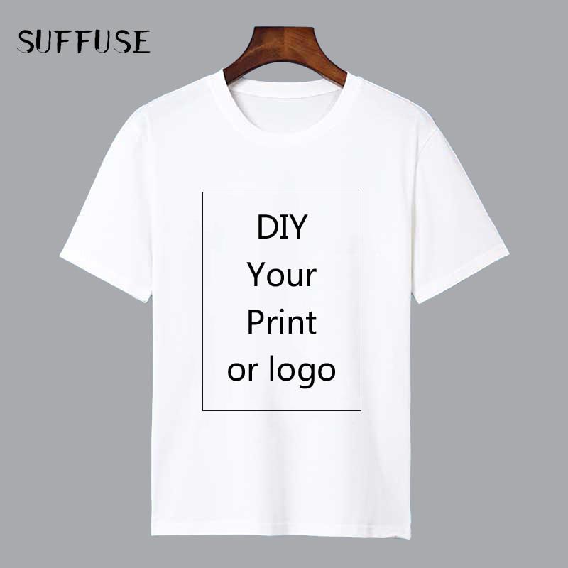 Impresión personalizada T camisa para los hombres DIY tu como la foto o el logotipo blanco Camisetas Camiseta de los hombres tamaño S-3XL modal proceso de transferencia de calor