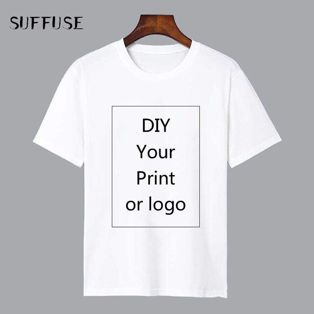 Personalizado Imprimir Camiseta for Men DIY Seu como a Foto ou Logotipo Branco Top Tees T-shirt Dos Homens Tamanho S-3XL modal de Processo de Transferência de Calor