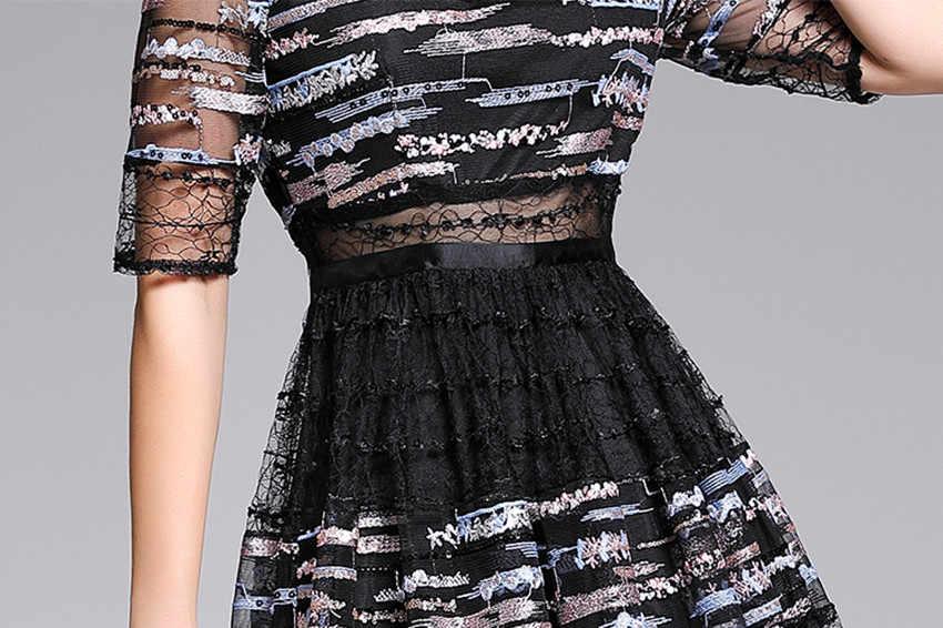 HAMALIEL Роскошные 2019 вечерние длинные женские платья Дизайнерские летние кружевные лоскутные платья с пайетками благородное платье с вышивкой