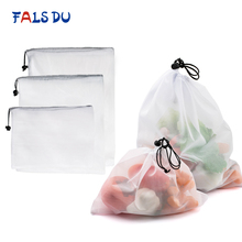 3pcs Reusable Vegetable Fruit Bags Eco Friendly Shopping Toys Mesh Produce Kitchen Storage