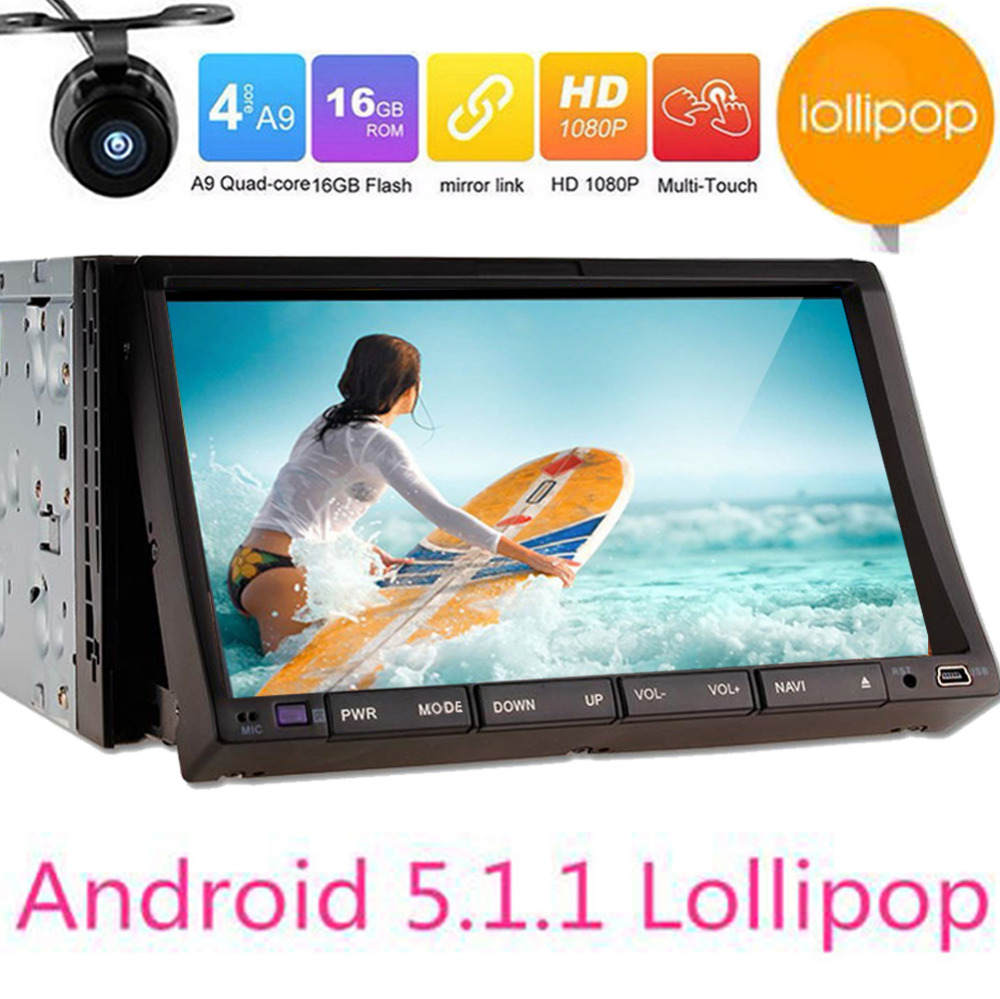 double din Quad Core Android 5.1.1 car dvd 2din universal Car DVD Player double din Stereo GPS Navigation car radio android 2din