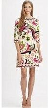 Прямые продажи нового Freeshipping шелк хлопок Прямо Vestido Платья для женщин свежий красивый принт эластичное трикотажное платье