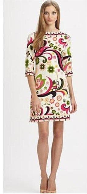 البيع المباشر جديد Freeshipping الحرير القطن مستقيم Vestido فساتين الطازجة جميل طباعة مطاطا محبوك فستان قطعة واحدة-في فساتين من ملابس نسائية على  مجموعة 1