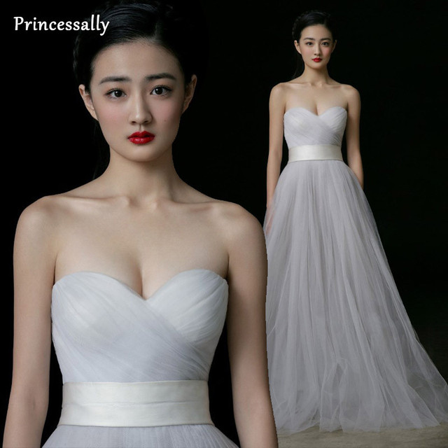 Simple Wedding Dress White Sweetheart Tulle Pleat Off the Shoulder ...