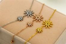 18K Gold Plated 316L Stainless Steel Sun Flower Link Bracelets For Women Fashion Jewelry