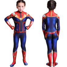Girls Captain Marvel Cosplay Costume Children Superhero Ms Carol Danvers Bodysuit Jumpsuit Halloween Kids