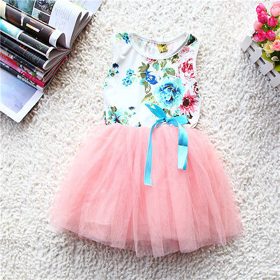 2016 Fashion Baby Girls Kids Princess Floral Lace Tulle Silk Ribbon Sleeveless Tutu Dress Bubble Baby Girls Summer Dresses