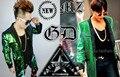 S-xxxl мужчины бренд художник DJ права bigbang чи длинная GD зеленый блёстки длинная костюм куртка костюм сцена одежда