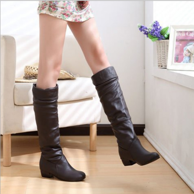 Fashion Women PU Leather Boots Boots Spring Boots Botas Female Stretch Shoes Woman Black White Roma Knee-Length BootsFashion Women PU Leather Boots Boots Spring Boots Botas Female Stretch Shoes Woman Black White Roma Knee-Length Boots