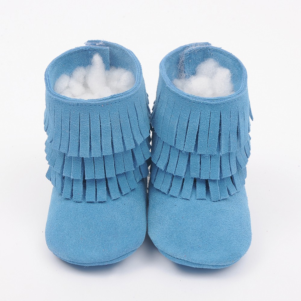 92935c0b3 New Handmade Genuine Leather baby Fringe boots First Walkers lace up ...