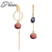 Phesee 3 Colors New Fashion Asymmetrical Crystal Stud Earrings Gold Color Alloy Cloth Ball Earring Jewelry Bijoux for Women