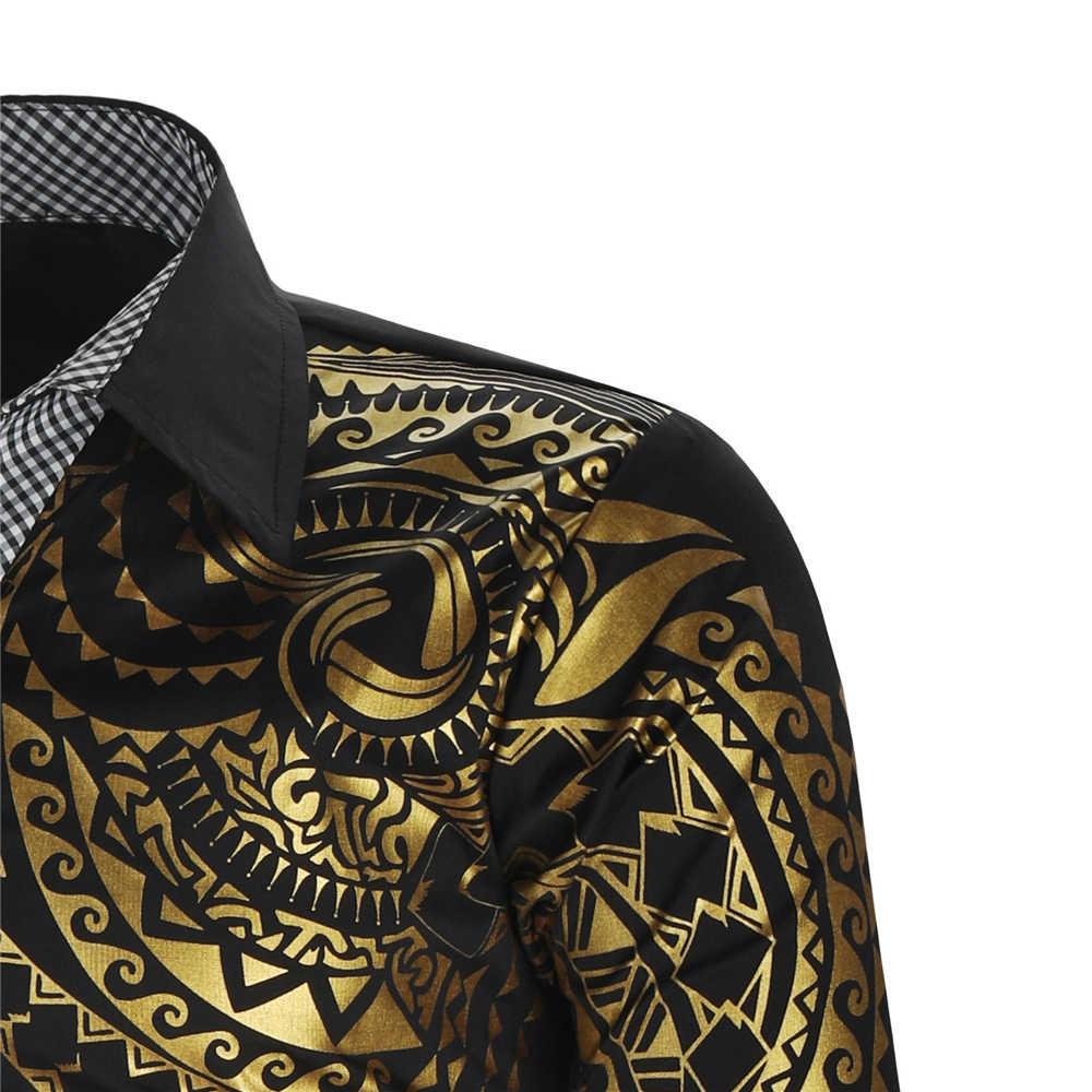 럭셔리 골드 블랙 셔츠 남성용 슬림 피트 롱 슬리브 Camisa Masculina 골드 블랙 Chemise Homme Social Men Club Prom Shirt