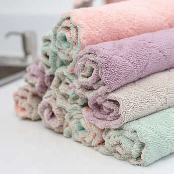 5Pcs Microfiber Kitchen Towel In Reusable And Washable For Drying Hands