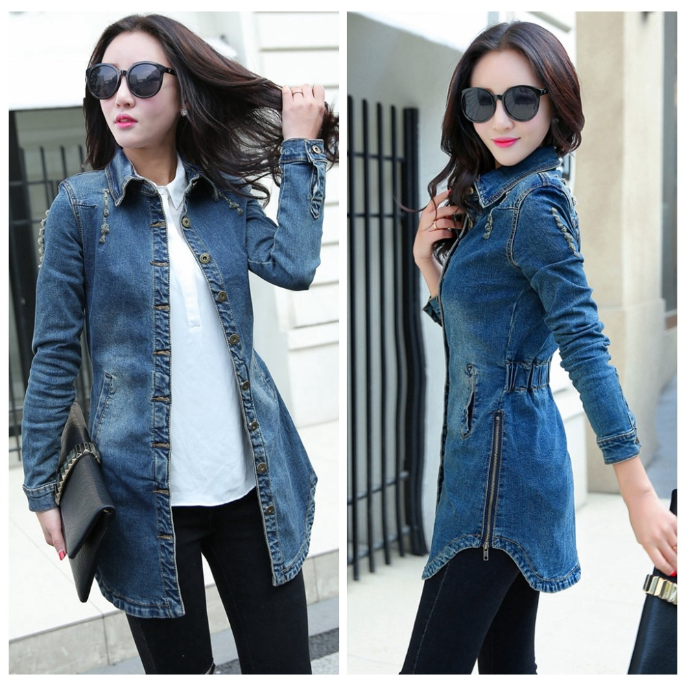 vintage women denim jacket 2017 woman casual washed jean