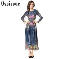 2017 sonbahar yeni kadın uzun elbise zarif vintage saray baskı kadın o-boyun maxi elbiseler moda Ofis lady parti elbise