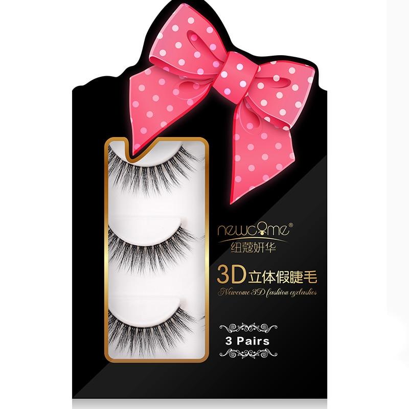 NEWCOME 3 pairs/set 3D mink eyelashes long lasting lashes natural volume extension false