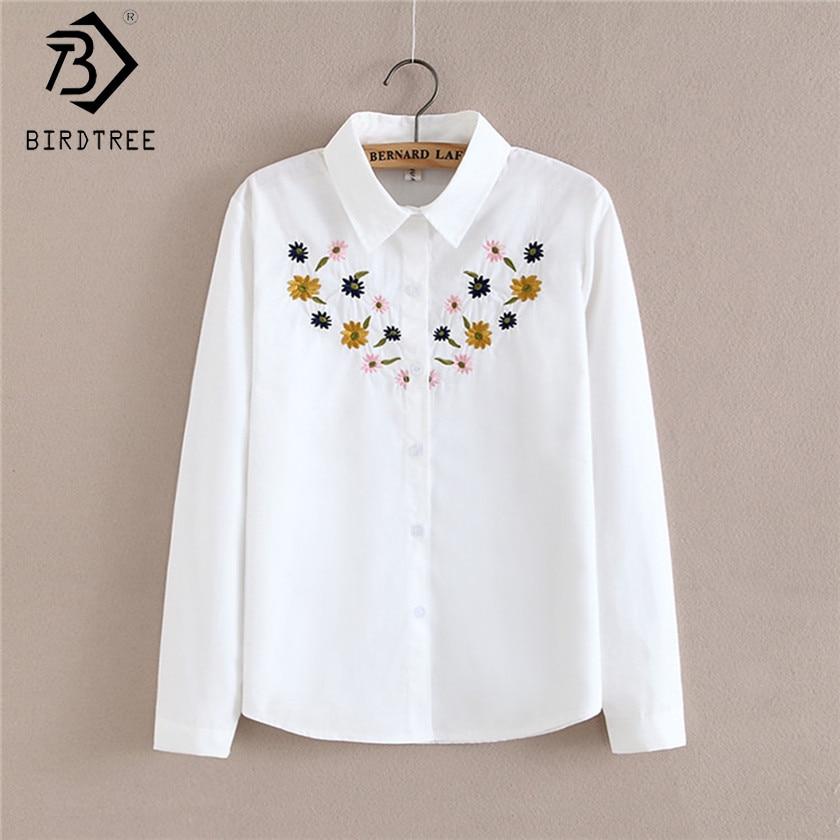 2017 Yeni Sonbahar beyaz Nakış Çiçek Bluz ile Broş Turn-Aşağı Yaka Japon Mori Kız Kadın Çizgi Gömlek Tee T58327 Tops