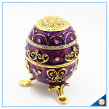Hand Painted Rich Purple Vintage Style Faberge Egg with Gold Finish Rhinestones Enamel Jewelry Trinket Box