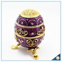 Hand- Painted Rich Purple Vintage Style Faberge Egg with Gold Finish, Rhinestones, Enamel Jewelry Trinket Box