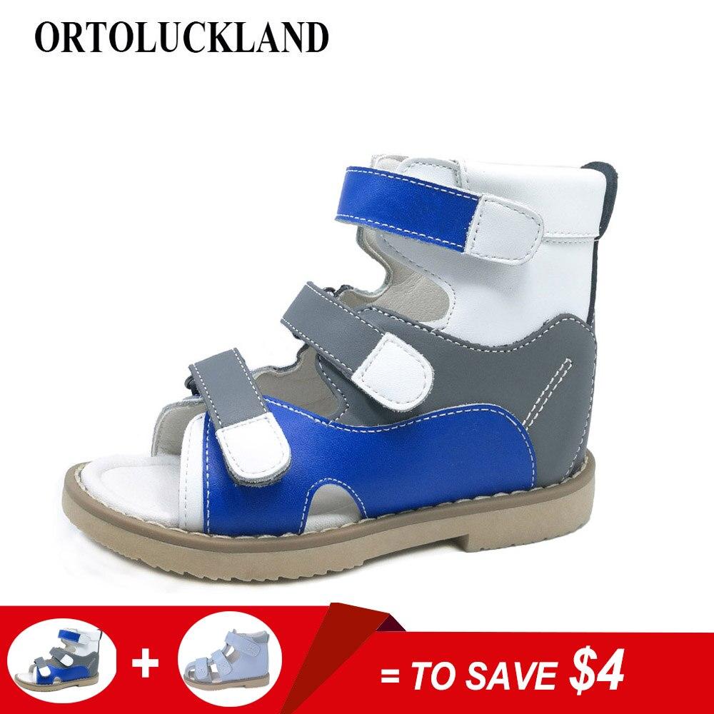 Популярные европейские Разноцветные Детские ботильоны из натуральной кожи ортопедическая обувь для мальчиков сандалии на плоской подошве...