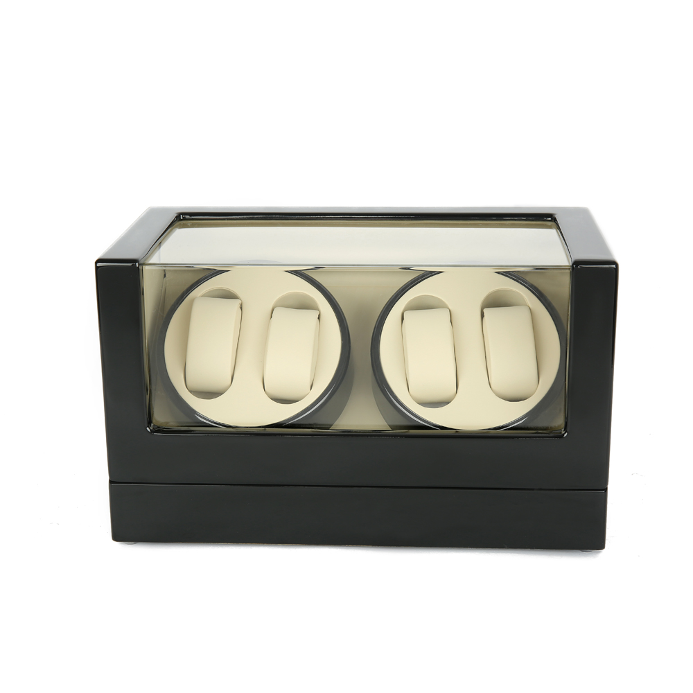 Watch Winder ,LTCJ Wooden Automatic Rotation 4+0 Watch Winder Storage Case Display Box (Black-white)without the key ultra luxury 2 3 5 modes german motor watch winder white color wooden black pu leater inside automatic watch winder