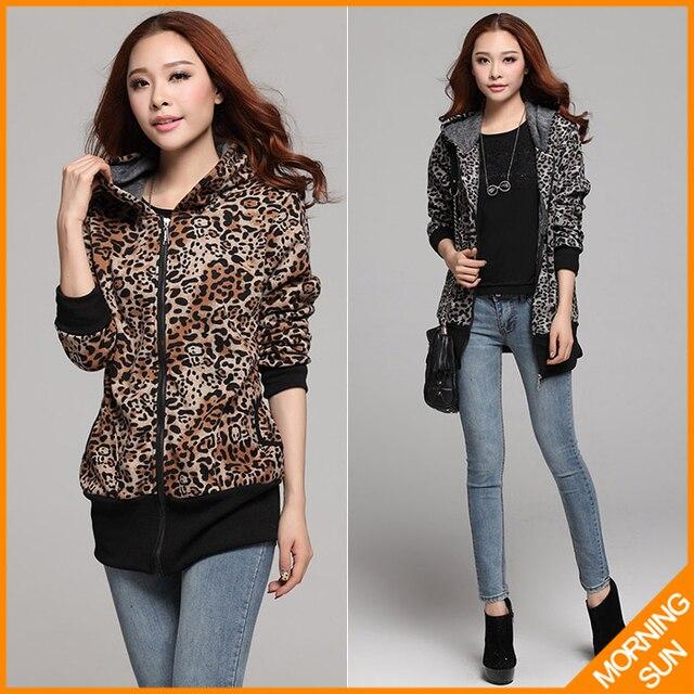 Леопардовым принтом добавить шерсть плюс размер XL XXL XXXL с капюшоном корейский длинные 2017 женщины мода зима молния кардиган пальто куртки #437