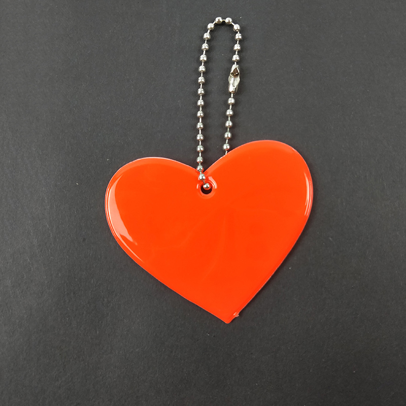 Heart shape Reflective keychain bag pendant student school bag accessories soft PVC reflector keyrings for visible safety