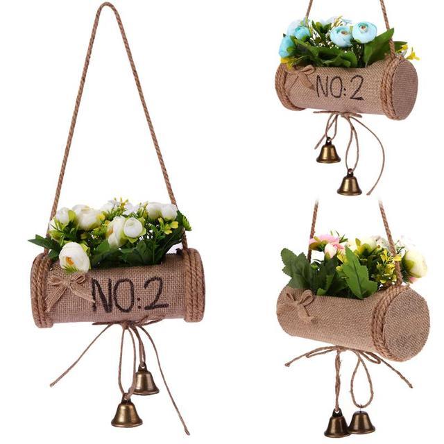 European Creative Flower Pot Hanging Garden Planter String Hanging Rope  Wall Art Home Balcony Decoration Garden