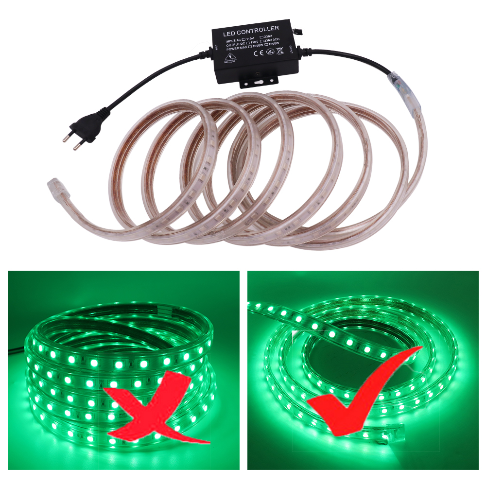 New Arrival AC110V 220V LED Strip SMD 5050 RGB Waterproof Ribbon Tape 60Leds m Flexible Strip Stable With RGB Touch Controller in LED Strips from Lights Lighting
