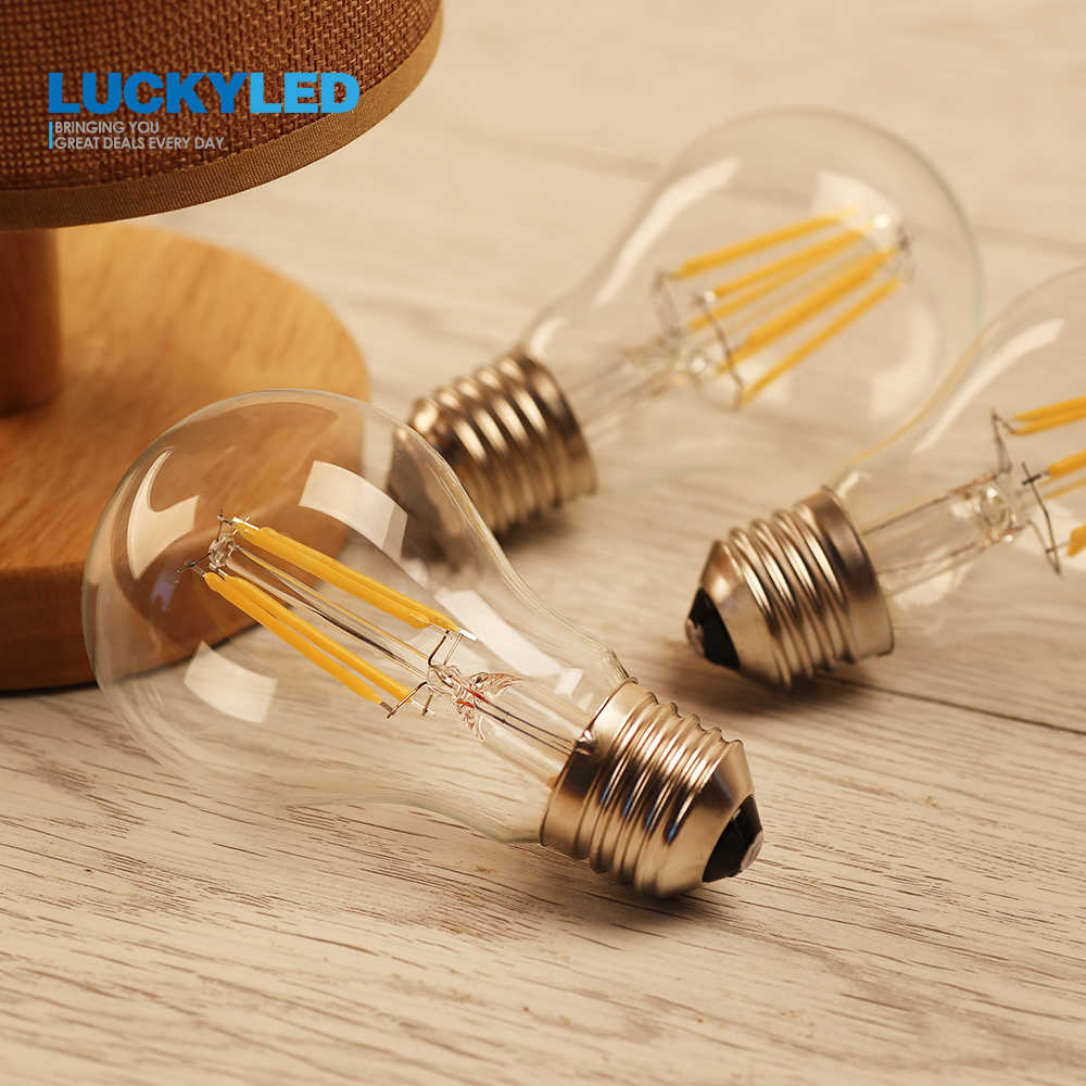 LUCKYLED Led Bulb E27 Dimmable 2W 4W 6W 8W A60 Retro Filament Lamp Light 220V 240V Edison Vintage Bulbs Glass Ball Bombillas