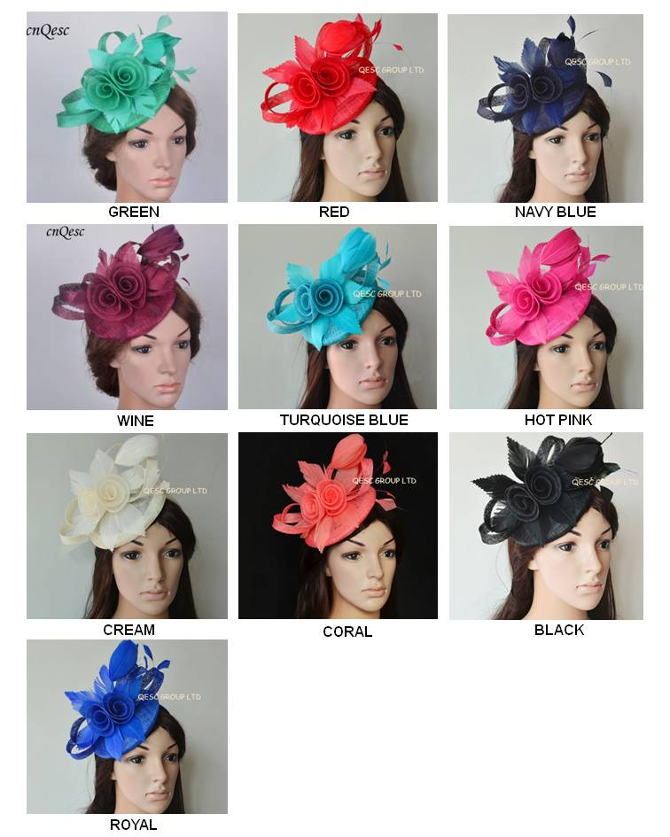 New Arrival Pillbox sinamay Fascinator Kentucky Derby Ascot hat wedding bridal headpiece with feather flowers sinamay