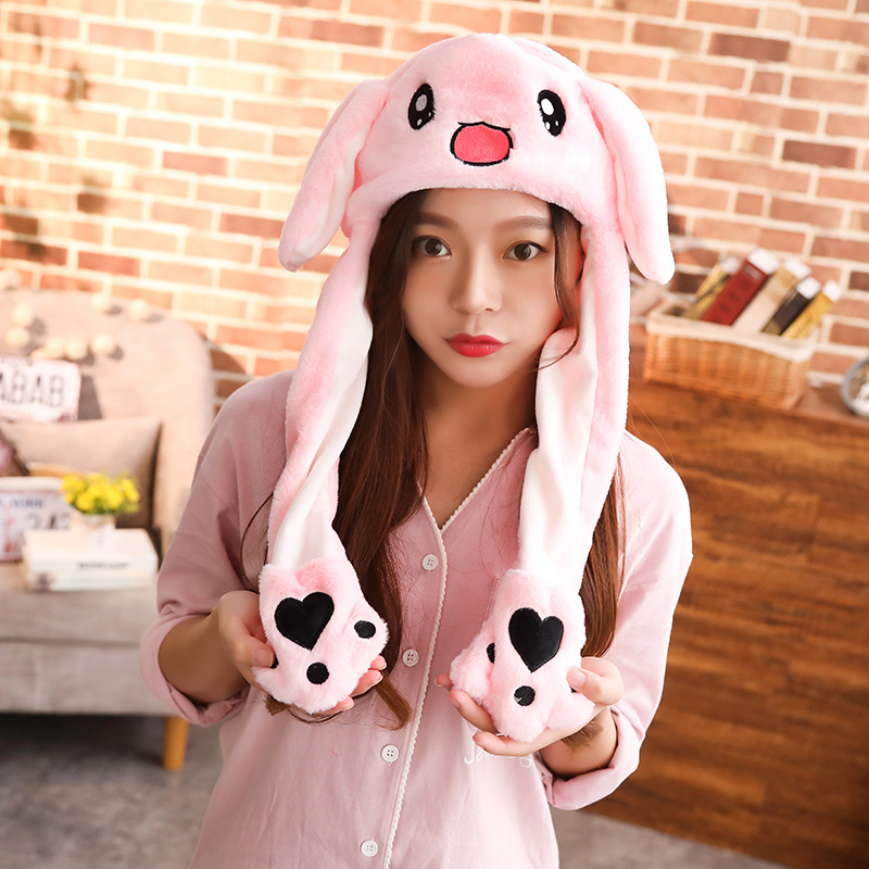 2019 New Style Attractive Kids Moving Ear Rabbit Pikachu Earflap Cap Lovely Soft Animal Plush Hat
