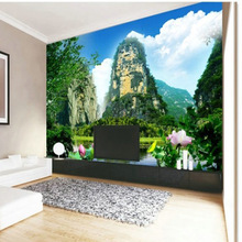 Customized mural large 3D Traditional Chinese painting with water mountain behind TV sofa as background wallpaper in living room