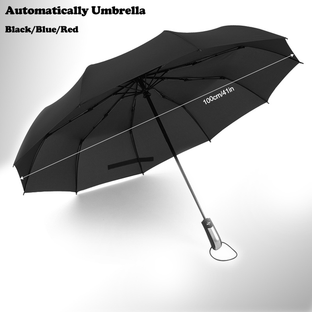 Fully Automatic 3 Folding Umbrella Male Large Strong Windproof Unbreakable  Heavy Duty Travel Outdoor