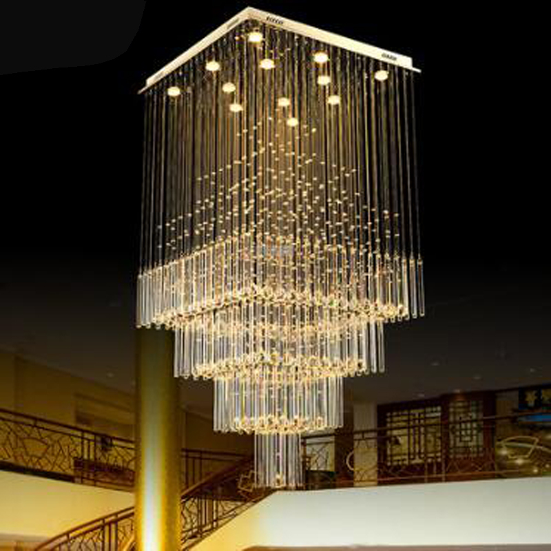 Square Crystal Chandelier Ideas Hall Villa Duplex Stair Lamp Long Living Room Chandelier Restaurant Lamp Modern Atmosphere Pendant Lights Aliexpress