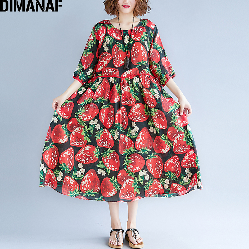 31c4468c247e0 DIMANAF Women Summer Dress Plus Size Sundress Large Clothing Cotton Female  Beach Vestidos Print Elegant Lady Casual Loose Dress