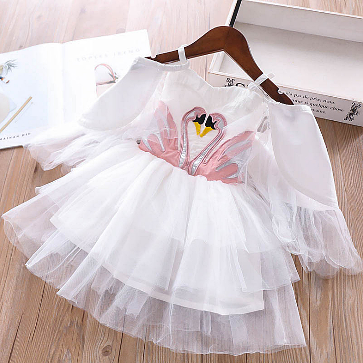 ee014e15486 5340 лебедь Вышивка принцессы платье для маленьких девочек 2019  весенвечерние вечернее Детские платья для девочек Оптовая